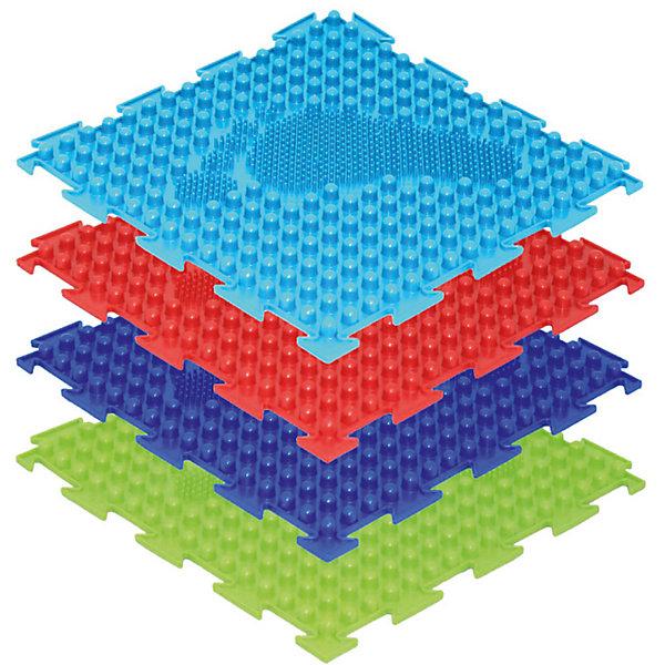 Модульный коврик Ортодон Елочка, мягкийКоврики<br>Коврик Елочка позволяет сформировать навык правильной постановки стоп при стоянии и ходьбе. Хождение и топтание по его поверхности носит расслабляющий характер. Коврик Елочка состоит из двух поверхностей: шипы и сам след - трава. Пазлы складываются в дорожку так, чтобы следы были расположены в разных направлениях в виде елочки. В коробке 8 пазлов 25х25см, цвета: синий, красный, салатовый, бирюза, по 2 шт. каждого цвета.
