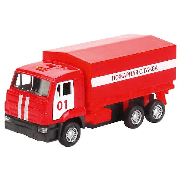 Машинка Технопарк КАМАЗ Пожарная служба, 12 смМашинки<br>Характеристики:<br><br>• возраст: от 3 лет;<br>• материал: пластик, металл;<br>• цвет: красный;<br> • высота: 12 см;<br>• размер: 26х52х39 см;<br>• вес: 85 гр;<br>• страна бренда: Россия;<br>• бренд: Технопарк.<br><br>Машинка Технопарк КАМАЗ «Пожарная служба», 12 см представляет собой миниатюрную копию настоящего Камаза пожарной службы. Двери кабины Камаза открываются, что позволяет рассмотреть салон грузовика. Модель бортового грузовика оснащена инерционным механизмом и съёмным тентом. Ребенку будет интересно и познавательно играть, в процессе игры развиваются мелкая моторика и воображение. Машинка изготовлена из качественного пластика, выполнена в оригинальной ярко-красной расцветке с элементами белого цвета. Размер 12 см. Рекомендовано детям старше 3-х лет.<br><br>Машинку Технопарк КАМАЗ «Пожарная служба», 12 см можно купить в нашем интернет-магазине.<br>Ширина мм: 260; Глубина мм: 520; Высота мм: 390; Вес г: 85; Цвет: красный; Возраст от месяцев: 36; Возраст до месяцев: 144; Пол: Мужской; Возраст: Детский; SKU: 8664380;