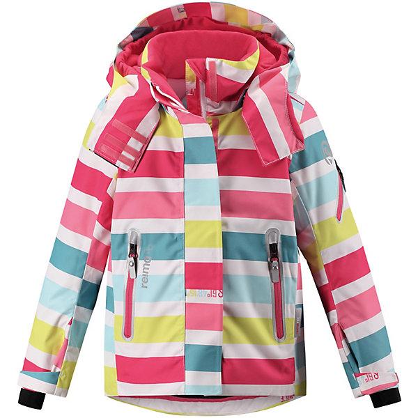 Утеплённая куртка Reima RoxanaКуртки<br>Характеристики товара:<br><br>• состав: 100% полиамид, полиуретановое покрытие <br>• подкладка: 100% полиэстер <br>• утеплитель: Reima® Flex 140 г/м2 <br>• сезон: зима <br>• температурный режим: от 0 до -20С <br>• водонепроницаемость: 15000 мм <br>• воздухопроницаемость: 7000 мм <br>• износостойкость: 40000 циклов (тест Мартиндейла) <br>• ветронепроницаемый, дышащий материал <br>• водо- грязеотталкивающий материал <br>• все швы проклеены и водонепроницаемы <br>• гладкая подкладка из полиэстера <br>• застежка: молния с дополнительной планкой на липучках <br>• защита подбородка от защемления <br>• безопасный, съемный и регулируемый капюшон <br>• регулируемые манжеты и внутренние манжеты из лайкры <br>• регулируемый подол, снегозащитный манжет на талии <br>• карманы на молнии, карман для skipass на рукаве <br>• карман для очков и внутренний нагрудный карман <br>• карман с креплениями для сенсора ReimaGO® в размерах 104-128 <br>• светоотражающие элементы <br>• страна бренда: Финляндия<br><br>Зимняя куртка на молнии Reimatec® с множеством функциональных деталей. Куртка с проклеенными швами сшита из специального, водо и грязеотталкивающего и дышащего материала. Эта куртка с подкладкой из гладкого полиэстера легко надевается, и ее очень удобно носить с теплым промежуточным слоем.<br><br>Манжеты и подол куртки регулируются, так что ее можно подогнать точно по фигуре. Снежную юбку можно пристегнуть к подкладке, если она не используется. Съемный и регулируемый капюшон безопасен во время игр на свежем воздухе, он легко отстегнется, если вдруг за что-нибудь зацепится. Капюшон также оснащен козырьком и отворотом, защищающим шею от ветра.<br><br>Отделку этой модной зимней модели довершают контрастные молнии на карманах, карман для лыжной карты на рукаве, нагрудный карман и карманы на молнии и специальный карман для сенсора ReimaGO. Эта куртка очень проста в уходе, кроме того, ее можно сушить в стиральной машине. Благодаря множеству практичн