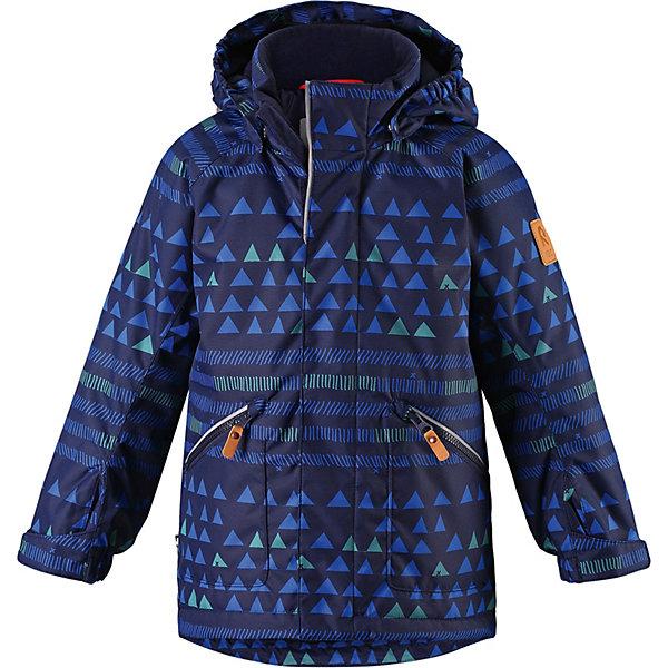 Утеплённая куртка Reima NappaaКуртки<br>Параметры изделия:<br><br>• объем груди: 94 см<br>• длина по спинке: 65 см<br>• длина рукава с учетом плеча: 65 см<br>• высота капюшона: 32 см<br>• глубина капюшона: 25 см<br><br>Характеристики товара:<br><br>• состав: 100% полиамид, полиуретановое покрытие <br>• подкладка: 100% полиэстер <br>• утеплитель: Reima® Soft Loft 160 г/м2 <br>• температурный режим: от 0 до -20С <br>• сезон: зима <br>• водонепроницаемость: 8000 мм <br>• воздухопроницаемость: 7000 мм <br>• износостойкость: 30000 циклов (тест Мартиндейла) <br>• водо- и ветронепроницаемый, дышащий и грязеотталкивающий материал <br>• основные швы проклеены и не пропускают влагу <br>• гладкая подкладка из полиэстера <br>• эластичные манжеты <br>• застежка: молния с защитой подбородка <br>• безопасный съемный капюшон на кнопках <br>• регулируемый обхват талии и подол <br>• карман с креплением для сенсора ReimaGO® в размерах 104-128 <br>• два кармана на кнопках <br>• светоотражающие детали <br>• страна бренда: Финляндия<br><br>Детская зимняя куртка изготовлена из износостойкого, водо и ветронепроницаемого, дышащего материала с водо и грязеотталкивающей поверхностью. Основные швы в куртке проклеены и водонепроницаемы, поэтому неожиданный снегопад или дождь не помешает веселым играм на свежем воздухе! Эта куртка с подкладкой из гладкого полиэстера легко надевается, и ее очень удобно носить.<br><br>Благодаря регулируемой талии и подолу, эта куртка прямого кроя отлично сидит по фигуре. Капюшон снабжен кнопками. Это обеспечивает дополнительную безопасность во время активных прогулок – капюшон легко отстегивается, если случайно за что-нибудь зацепится. Регулируемые манжеты, два передних кармана на молнии и светоотражающие детали.  Вся одежда Reima производится с запасом роста +6 см. Производитель рекомендует использовать термобелье и флисовую поддеву для сильных морозов.