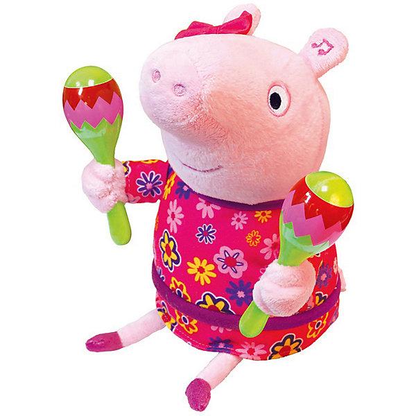 Росмэн Интерактивная мягкая игрушка Свинка Пеппа Пеппа с маракасами, 30 см мягкая игрушка свинка росмэн свинка пеппа джордж морячок плюш текстиль пластик розовый 25 см