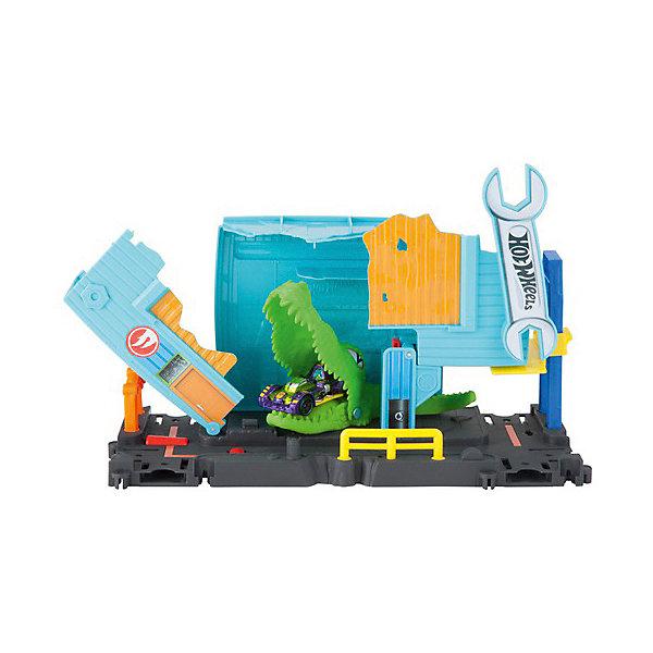 Mattel Автотрек Hot Wheels С монстрами-злодеями Атака аллигатора на гараж mattel автотрек hot wheels с монстрами злодеями атака паука в парке