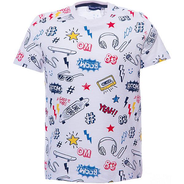 Футболка Original Marines для мальчикаФутболки, поло и топы<br>Характеристики товара:<br><br>• пол: мальчик;<br>• цвет: белый;<br>• состав ткани: 100% хлопок;<br>• сезон: лето;<br>• короткие рукава;<br>• страна бренда: Италия.<br><br>Эта футболка для детей отлично сочетается с различными шортами и брюками - можно создать модный и комфортный наряд в теплую погоду. Хлопковая футболка для ребенка обеспечит удобство благодаря мягкому и дышащему материалу. Детская футболка дополнена мягкой окантовкой ворота и украшена стильным принтом. Белая футболка для детей от итальянского бренда Original Marines - это беспроигрышный вариант одежды для лета или пляжного отдыха.<br><br>Футболку Original Marines (Ориджинал Маринс) для мальчика можно купить в нашем интернет-магазине.<br>Ширина мм: 199; Глубина мм: 10; Высота мм: 161; Вес г: 151; Цвет: белый; Возраст от месяцев: 24; Возраст до месяцев: 36; Пол: Мужской; Возраст: Детский; Размер: 92,116,104; SKU: 8687982;