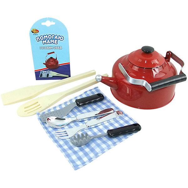 ABtoys Набор игрушечной посуды ABtoys Помогаю Маме, 8 предметов abtoys кухонный набор помогаю маме цвет чайника синий 8 предметов