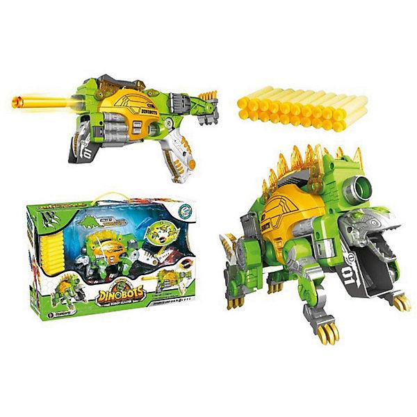 Робо-бластер ShantouGepai 2 в 1Dinobots СтегозаврТрансформеры-игрушки<br>Характеристики товара: <br><br>• возраст: от 6 лет;<br>• цвет: зеленый, оранжевый;<br>• комплект: робот-бластер, 20 пуль, мишень;<br>• из чего сделана игрушка (состав): пластик, полимер;<br>• дальность стрельбы бластера: до 10 м.;<br>• размер динозавра: 34х8,5х16 см.;<br>• размер упаковки: 50х32х15 см.;<br>• вес: 1,333 кг.;<br>• упаковка: картонная коробка блистерного типа.<br><br>Трансформер Динобот «Стегозавр» станет непревзойденным подарком для мальчиков и порадует их своим уникальным исполнением. Изделие сочетает в себе игрушечного ящера, бластер и трансформер.<br><br>Данный стегозавр трансформируется в футуристический яркий бластер, стреляющий красочными снарядами, входящими в комплект этого набора. Конструктивные особенности данной игрушки позволяют с легкостью трансформировать ее из стегозавра в фантастическое оружие и обратно.  Бластер отличается выразительным дизайном, эргономичной ручкой и качественным исполнением. <br><br>С данной игрушкой мальчики смогут придумывать массу захватывающих игровых сюжетов и увлекательно проводить свое свободное время.<br>Ширина мм: 500; Глубина мм: 320; Высота мм: 150; Вес г: 1333; Цвет: gr?n/orange; Возраст от месяцев: 72; Возраст до месяцев: 120; Пол: Мужской; Возраст: Детский; SKU: 8688343;