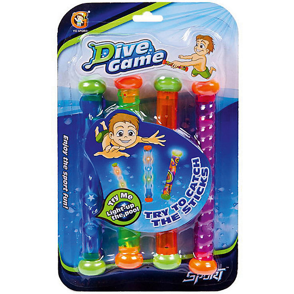 Набор игрушек для купания YG Sport, 4 светящихся водонепроницаемых палочек, Разноцветный