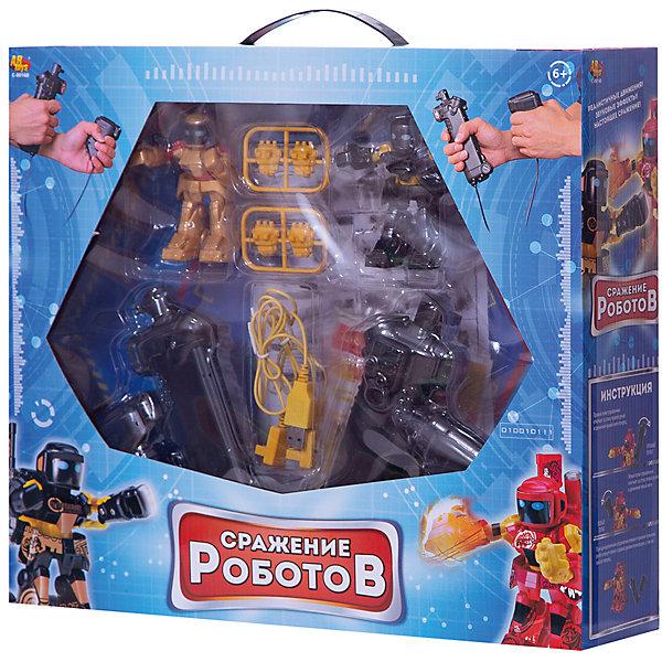 Радиоуправляемые роботы ABtoys Сражение роботовРоботы-игрушки<br>Характеристики товара: <br><br>• возраст: от 6 лет;<br>• комплект: 2 робота, 2 пульта, 2 USB провода, 2 пары перчаток, арена;<br>• тип батареек: 8xAA/LR6 1,5V (пальчиковые);<br>• из чего сделана игрушка (состав): пластик, металл;<br>• цвет: разноцветный;<br>• тип питания роботов: аккумулятор;<br>• размер упаковки: 40,5x10,5x35,5 см.;<br>• вес: 910 гр.;<br>• упаковка: картонная коробка блистерного типа.<br><br>Набор «Сражение роботов» предназначен для двух игроков, которые увлекаются различными видами единоборств или любят играть в боевые игры.  В набор входит два радиоуправляемых робота, пульты управления к ним, а также зарядные устройства USB. <br><br>Как только ребята освоятся с управлением и возможностями робота, им предстоит ряд состязаний, в ходе которых определится безоговорочный победитель.  Игра обязательно увлечет ребят и отвлечет их от игры в компьютерные игры.<br>Ширина мм: 405; Глубина мм: 105; Высота мм: 355; Вес г: 910; Цвет: разноцветный; Возраст от месяцев: 72; Возраст до месяцев: 120; Пол: Мужской; Возраст: Детский; SKU: 8688363;