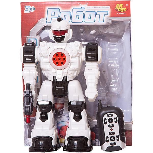 ABtoys Радиоуправляемый робот ABtoys со светом и звуком, стреляет мягкими снарядами abtoys abtoys лук игрушка с прицелом с 3 мя мягкими снарядами