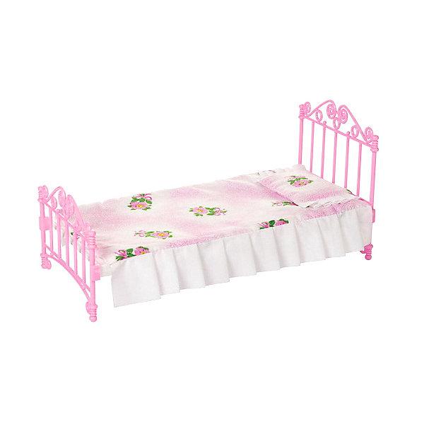 Мебель для куклы Огонёк Кроватка с постельным бельём, розовая от Огонек