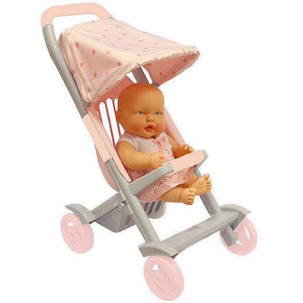 Огонек Коляска для кукол Огонёк Маленькая для пупсов, розовая коляска для кукол bayer design тренди цвет серый розовый