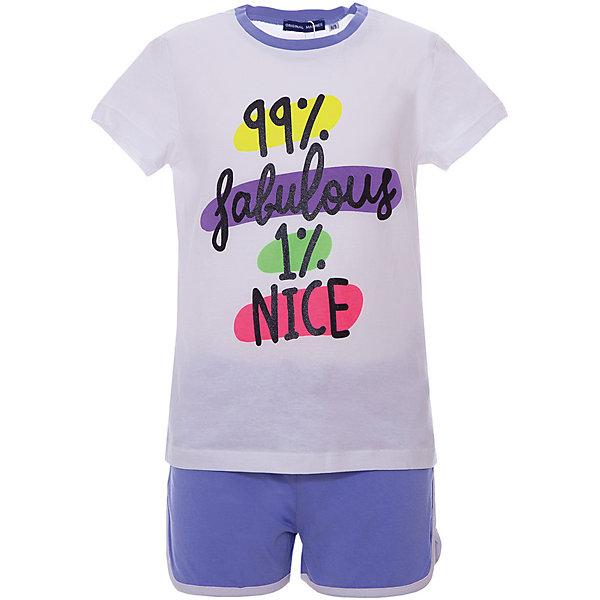 Комплект :футболка,шорты Original Marines для девочкиКомплекты<br>Характеристики товара:<br><br>• пол: девочка;<br>• цвет: белый, голубой;<br>• комплектация: футболка, шорты;<br>• состав ткани: 100% хлопок;<br>• сезон: лето;<br>• короткие рукава;<br>• талия: резинка, шнурок;<br>• страна бренда: Италия.<br><br>Такой летний детский комплект от Original Marines создает комфортные условия на весь день и позволяет коже дышать. Комплект для детей состоит из принтованной футболки и удобных шорт, изделия отлично сочетаются как между собой, так и с другими вещами. Симпатичная детская футболка легко надевается благодаря эластичному материалу. Шорты из комплекта для ребенка дополнены шнурком в талии для удобной фиксации.