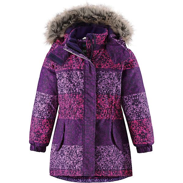 Куртка Lassie для девочкиОдежда<br>Характеристики товара:<br><br>• состав: 100% полиэстер, полиуретановое покрытие <br>• подкладка: 100% полиэстер <br>• утеплитель: 100% полиэстер, 180 гр/м2 <br>• температурный режим: от -15 до -30 <br>• сезон: зима <br>• водонепроницаемость: 1000 мм <br>• воздухопроницаемость: 2000 мм <br>• износостойкость: 20000 циклов (тест Мартиндейла) <br>• застёжка: молния с защитой подбородка <br>• водо- и ветронепроницаемый, дышащий и грязеотталкивающий материал <br>• гладкая подкладка из полиэстера <br>• безопасный съемный капюшон <br>• съёмный искусственный мех на капюшоне <br>• приталенный крой <br>• регулируемая талия <br>• эластичные манжеты на рукавах <br>• ветрозащитная планка на липучках <br>• два кармана на кнопках <br>• светоотражающие детали <br>• страна бренда: Финляндия<br><br>Данный температурный режим рассчитан на совмещение данной модели с термобельем или флисовой поддевой.<br><br>Информация о технических характеристиках носит справочный характер и основывается на последних доступных сведениях от производителя. <br><br>Удлиненная модель для девочек, спереди оснащенная большими карманами с клапанами. Куртка изготовлена из ветронепроницаемого дышащего материала с верхним водо- и грязеотталкивающим слоем. Образ дополняют полезные и продуманные детали: карманы на липучках и безопасный съемный капюшон со съемной оторочкой из искусственного меха.