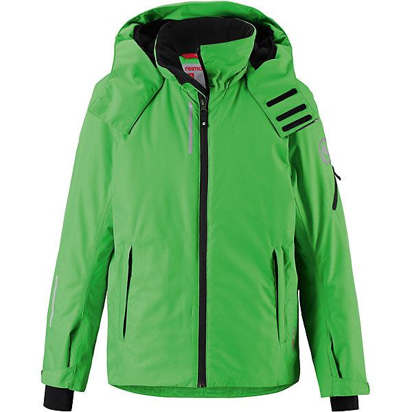 Куртка Detour Reima для мальчикаОдежда<br>Характеристики товара:<br><br>• состав: 100% полиамид, полиуретановое покрытие <br>• подкладка: 100% полиэстер <br>• утеплитель: Reima® Flex 140 г/м2 <br>• сезон: зима <br>• температурный режим: от 0 до -20С <br>• водонепроницаемость: 8000 мм <br>• воздухопроницаемость: 4000 мм <br>• износостойкость: 15000 циклов (тест Мартиндейла) <br>• водо- и ветронепроницаемый, дышащий и грязеотталкивающий материал <br>• основные швы проклеены и водонепроницаемы <br>• застежка: молния с защитой подбородка <br>• гладкая подкладка из полиэстера <br>• безопасный съемный и регулируемый капюшон <br>• регулируемые манжеты и внутренние манжеты из лайкры <br>• регулируемый подол, снегозащитный манжет на талии <br>• карманы на молнии, карман для skipass на рукаве <br>• карман для очков, внутренний нагрудный карман <br>• карман с кнопками для сенсора ReimaGO® в размерах 104-128<br>• светоотражающие детали <br>• страна бренда: Финляндия<br><br>Детская непромокаемая зимняя куртка изготовлена из ветронепроницаемого, дышащего материала с верхним водо и грязеотталкивающим слоем. Основные швы в куртке проклеены и водонепроницаемы, поэтому никакой дождь не помешает веселым зимним играм на свежем воздухе!<br><br>Эта куртка с множеством функциональных деталей, идеально подходит для активного дня на свежем воздухе: регулируемый подол со снежной юбкой не пропустит внутрь влагу и снег, а регулируемые манжеты с внутренними манжетами из лайкры защищают запястья от холода.<br><br>Карман для лыжной карты на рукаве поможет быстро достать карточку в очереди на подъемник, а в кармане для очков и внутреннем нагрудном кармане можно носить лыжные очки. Съемный и регулируемый капюшон защищает от пронизывающего ветра, к тому же он абсолютно безопасен на лыжном склоне – легко отстегнется, если вдруг за что-нибудь зацепится.