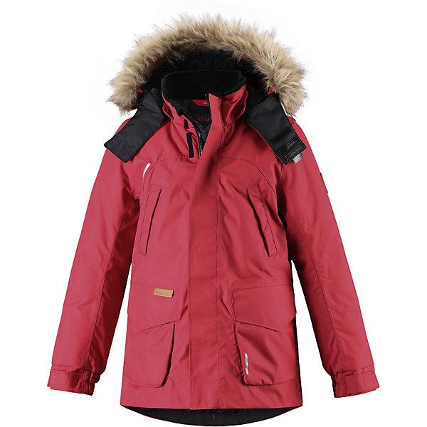 Куртка Serkku ReimaОдежда<br>Характеристики товара:<br><br>• состав: 100% полиамид, полиуретановое покрытие <br>• подкладка: 100% полиэстер <br>• утеплитель: 60% пух, 40% перо <br>• сезон: зима <br>• температурный режим: от -10 до -30С <br>• водонепроницаемость: 15000 мм <br>• воздухопроницаемость: 7000 мм <br>• износостойкость: 40000 циклов (тест Мартиндейла) <br>• водо- и ветронепроницаемый, дышащий и грязеотталкивающий материал <br>• все швы проклеены и водонепроницаемы <br>• застежка: молния с дополнительной планкой <br>• безопасный съемный капюшон <br>• съемный искусственный мех на капюшоне <br>• регулируемые манжеты и подол <br>• внутренняя регулировка талии <br>• удлиненный подол сзади <br>• два прорезных кармана <br>• нагрудные карманы <br>• внутренний нагрудный карман в размерах от 116<br>• петля для дополнительных светоотражающих деталей <br>• светоотражающие детали <br>• страна бренда: Финляндия<br><br>Параметры изделия: <br><br>• объем груди: 98 см<br>• длина рукава с учетом плеча: 72 см<br>• длина изделия: 70 см<br>• высота капюшона: 30 см<br>• глубина капюшона: 25 см<br><br>Теплая детская куртка-пуховик сшита из ветронепроницаемого и дышащего материала, который, к тому же, абсолютно водонепроницаемый! Все швы в этой стильной куртке проклеены и водонепроницаемы, что гарантирует максимальный комфорт во время зимних прогулок, при любой погоде. Талия и подол этой удлиненной модели легко регулируются, что позволяет подогнать куртку точно по фигуре.<br><br>Съемный капюшон защищает от пронизывающего ветра и безопасен во время игр на свежем воздухе. Кнопки легко отстегиваются, если капюшон случайно за что-нибудь зацепится. Куртка подшита гладкой подкладкой. Модный образ дополняет капюшон с элегантной оторочкой из искусственного меха, которую при желании также можно снять. В нескольких карманах удобно хранить разные важные предметы во время прогулок.