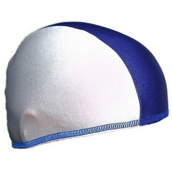 Шапочка для плавания Спортивные мастерские, бело-синяя