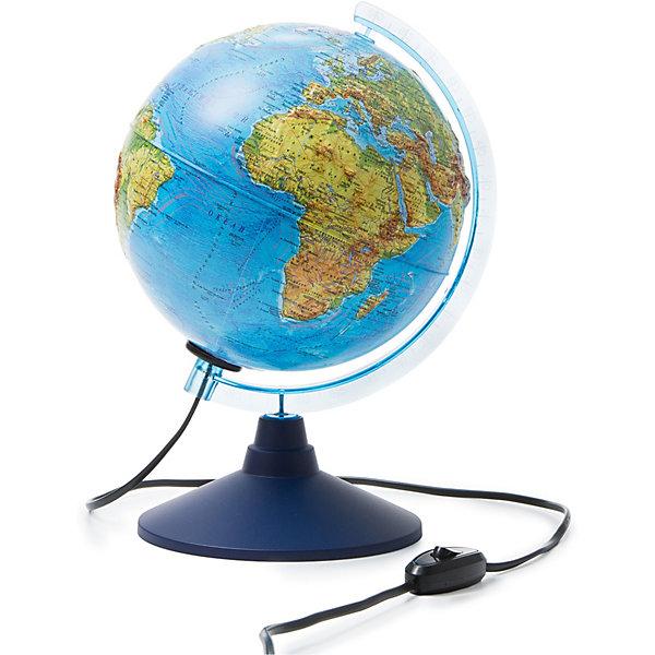 Глобус Земли Globen, физический рельефный, с подсветкой, 210мм.Глобусы<br>Характеристики:<br><br>• тип глобуса: физический рельефный;<br>• особенности: с подсветкой;<br>• диаметр: 21 см;<br>• наглядное пособие при изучении географии;<br>• подробная карта глобуса;<br>• актуальная информация;<br>• для детей от 6 лет;<br>• материал: пластик;<br>• упаковка: фирменный пакет и цветная подарочная коробка;<br>• размер упаковки: 22х22х25 см;<br>• вес: 700 г.<br><br>Глобус Земли позволяет изучить и рассмотреть страны мира, их взаимное расположение. Географические данные четкие и понятные, глобус земли является универсальным наглядным пособием для их изучения. Подробная и актуальная карта глобуса, Крым в составе РФ. Сделано в России.