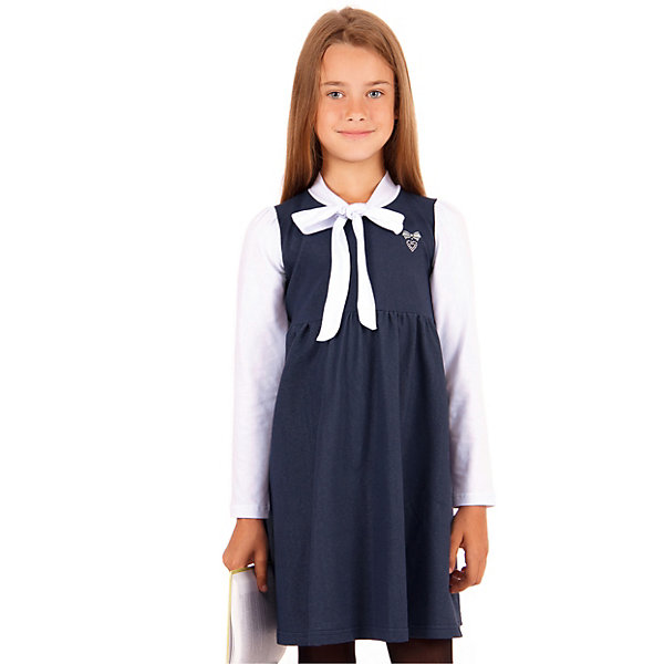 Платье Апрель для девочкиПлатья и сарафаны<br>Характеристики товара:<br><br>• цвет: синий, белый<br>• пол: девочка<br>• состав ткани: хлопок 60%, полиэстер 30%, лайкра 10%;<br>• сезон: круглый год<br>• с длинным рукавом;<br>• особенности: школьная<br><br>Симпатичное школьное платье с рукавами контрастного цвета станет отличным дополнением к гардеробу любой девочки. На груди имеется украшение в виде бантика.<br><br>Актуальный крой и интересная ткань придают модели индивидуальные черты, обеспечивая достойный внешний вид, долговечность и неприхотливость в уходе.<br>Ширина мм: 236; Глубина мм: 16; Высота мм: 184; Вес г: 177; Цвет: разноцветный; Возраст от месяцев: 72; Возраст до месяцев: 96; Пол: Женский; Возраст: Детский; Размер: 128,122,140,134,146; SKU: 8692523;