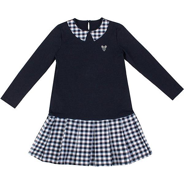 Платье Апрель для девочкиПлатья и сарафаны<br>Характеристики товара:<br><br>• цвет: синий, белый<br>• пол: девочка<br>• состав ткани: хлопок 76%, полиэстер 20%, лайкра 4%;<br>• сезон: круглый год<br>• с длинным рукавом;<br>• особенности: школьная<br><br>Трикотажное платье школьное Апрель с круглым вырезом, украшенным контрастным воротом в тон юбки, длинными рукавами. Застегивается на пуговицу на спинке. Девочке будет удобно и комфортно в школе в таком стильном платье от российского бренда Апрель.<br>Ширина мм: 236; Глубина мм: 16; Высота мм: 184; Вес г: 177; Цвет: разноцветный; Возраст от месяцев: 60; Возраст до месяцев: 84; Пол: Женский; Возраст: Детский; Размер: 122,128,146,140,134; SKU: 8692525;