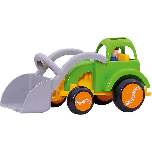 Viking Toys Машинка Viking Toys Fun Color Трактор с ковшом и фигурками, 28 см машинки tomy трактор john deere 6830 с двойными колесами и фронтальным погрузчиком