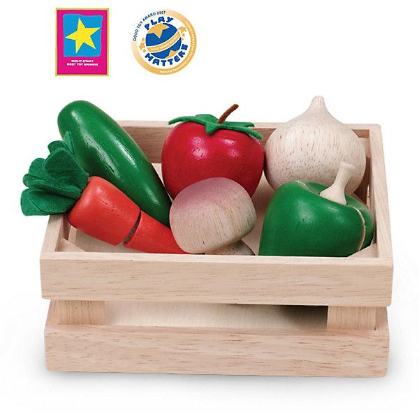 Wonderworld Игровой набор Wonderworld Овощи и грибы для нарезки, в ящике деревянные игрушки wonderworld столярная мастерская для малышей