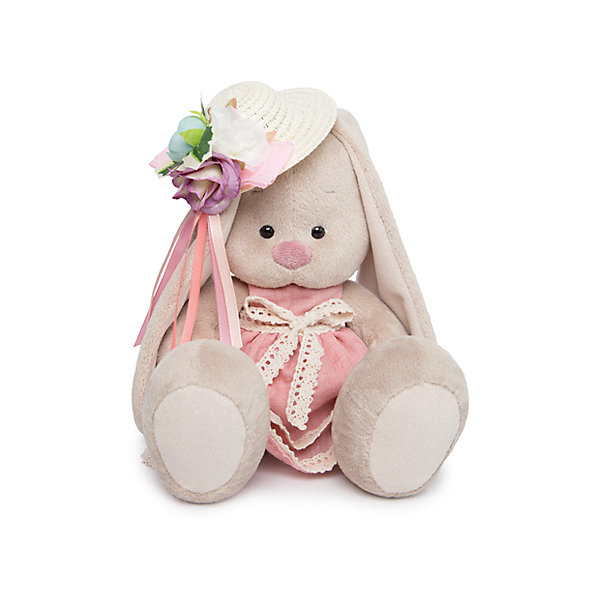 Budi Basa Мягкая игрушка Budi Basa Зайка Ми в бледно-розовом платье и шляпке с цветами, 18 см