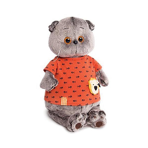 Мягкая игрушка Budi Basa Кот Басик в оранжевой футболке в рыбках со львенком, 22 смМягкие игрушки-кошки<br>Характеристики товара:<br><br>• возраст: от 3 лет;<br>• материал: текстиль, искусственный мех;<br>• высота игрушки: 30 см;<br>• размер упаковки: 32х18х16 см;<br>• вес упаковки: 633 гр.;<br>• страна производитель: Россия.<br><br>Мягкая игрушка «Басик в оранжевой футболке в рыбках со львенком» Budi Basa - очаровательный пушистый котенок с добрыми глазками. Одет Басик в яркую футболку. Игрушка выполнена из качественного безопасного материала, настолько приятного и мягкого, что ребенок будет брать с собой котенка в кроватку и спать в обнимку.<br>Ширина мм: 250; Глубина мм: 150; Высота мм: 100; Вес г: 335; Цвет: коричневый; Возраст от месяцев: 36; Возраст до месяцев: 168; Пол: Унисекс; Возраст: Детский; SKU: 8720795;