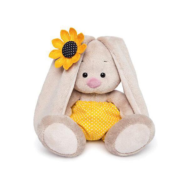 Мягкая игрушка Budi Basa Зайка Ми в желтых трусах в горошек и с подсолнухом, 15 смМягкие игрушки зайцы и кролики<br>Характеристики товара:<br><br>• возраст: от 3 лет;<br>• материал: текстиль, искусственный мех;<br>• высота игрушки: 15 см;<br>• размер упаковки: 15х14х15 см;<br>• вес упаковки: 270 гр.;<br>• страна производитель: Россия.<br><br>Мягкая игрушка «Зайка Ми в желтых трусах в горошек и с подсолнухом» Budi Basa — очаровательный пушистый зайчонок с длинными ушками. На зайке летний наряд, в лапках она держит подсолнух - солнечный цветок<br><br>. Игрушка выполнена из качественного безопасного материала, настолько приятного и мягкого, что ребенок будет брать с собой зайку в кроватку и спать в обнимку.