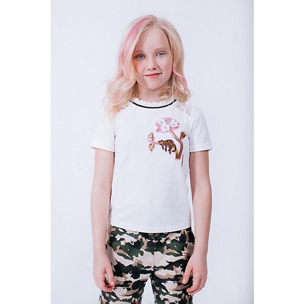 Футболка Choupette для девочкиФутболки, поло и топы<br>Характеристики товара:<br><br>• цвет: белый;<br>• состав ткани: 90% хлопок, 10% полиуретан;<br>• отделка: 100% полиэстер;<br>• сезон: лето;<br>• короткие рукава;<br>• страна бренда: Россия.<br><br>Оригинальная футболка для детей от бренда Choupette может стать основой летнего гардероба. Такая футболка для ребенка сделана преимущественно из дышащего натурального хлопка, а полиуретан добавляет ткани прочности и износоустойчивости. Детская футболка декорирована модным принтом и кружевом. Товары для детей от известного бренда Choupette - это модные вещи, которые добавят в гардероб ребенка оригинальную французскую нотку.<br>Ширина мм: 199; Глубина мм: 10; Высота мм: 161; Вес г: 151; Цвет: белый; Возраст от месяцев: 18; Возраст до месяцев: 24; Пол: Женский; Возраст: Детский; Размер: 92,116,110,134,122,98,104; SKU: 8722964;