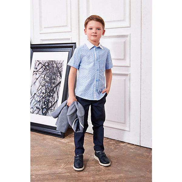 Рубашка Choupette для мальчикаБлузки и рубашки<br>Характеристики товара:<br><br>• цвет: голубой;<br>• состав ткани: 100% хлопок;<br>• сезон: лето;<br>• застежка: пуговицы;<br>• короткие рукава;<br>• страна бренда: Россия.<br><br>Удобная рубашка для детей от бренда Choupette может стать основой летнего гардероба. Эта сорочка для ребенка сделана из дышащего натурального хлопка, контрастный отложной воротник добавляет модели оригинальности. Детская рубашка с коротким рукавом отличается аккуратной линией низа - её можно носить навыпуск. Товары для детей от известного бренда Choupette - это модные вещи, которые добавят в гардероб ребенка оригинальную французскую нотку.<br>Ширина мм: 174; Глубина мм: 10; Высота мм: 169; Вес г: 157; Цвет: голубой; Возраст от месяцев: 48; Возраст до месяцев: 60; Пол: Мужской; Возраст: Детский; Размер: 110,98; SKU: 8723031;