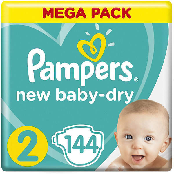 Подгузники Pampers New Baby-Dry 4–8 кг, размер 2, 144 шт.Подгузники классические<br>Характеристики товара:<br><br>• возраст: от 3 до 9 месяцев;<br>• весовая группа: 4-8 кг;<br>• размер: 2<br>• количество в упаковке: 144 шт.;<br>• размер упаковки: 36х27х22 см;<br>• вес упаковки: 4,4 кг;<br>• страна производитель: Россия.<br><br>Новые подгузники Pampers New Baby-Dry с воздушными каналами дарят больше сухости* коже вашего малыша. Родители понимают, насколько важно, чтобы кожа малыша «дышала». Именно поэтому они стараются не надевать подгузник на малыша в течение дня. Подгузники Pampers помогают коже вашего малыша оставаться сухой и дышать ночью, обеспечивая ей воздушную сухость. Подгузники Pampers New Baby-Dry с воздушными каналами, позволяющими воздуху циркулировать внутри подгузника.   (*по сравнению с подгузниками экономичного сегмента) <br><br>• Подгузники Pampers New Baby-Dry с уникальными Воздушными каналами, обеспечивающими воздушную сухость всю ночь<br>• Дополнительный слой помогает равномерно распределять влагу внутри подгузника<br>• Внутренний впитывающий слой с жемчужными микрогранулами впитывает влагу и надежно удерживает ее внутри<br>• Тянущиеся боковые застежки обеспечивают комфортную посадку, отлично защищая от протеканий ночью<br>• Мягкий как хлопок верхний слой, прилегающий к коже малыша (не содержит хлопка)<br>• Забавные рисунки на внешней стороне подгузника помогут сделать процесс смены подгузника легким и веселым — как для малыша, так и для мамы<br>• Индикатор влаги сообщит вам, когда нужно поменять подгузник<br>Ширина мм: 365; Глубина мм: 264; Высота мм: 218; Вес г: 2349; Возраст от месяцев: 3; Возраст до месяцев: 9; Пол: Унисекс; Возраст: Детский; SKU: 8729750;