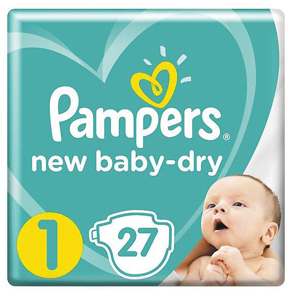 Подгузники Pampers New Baby-Dry 2–5 кг, размер 1, 27 шт.Подгузники классические<br>Характеристики товара:<br><br>• возраст: от 0 до 3 месяцев;<br>• весовая группа: 2-5 кг;<br>• размер: 1;<br>• количество в упаковке: 27 шт.;<br>• размер упаковки: 20х24х10 см;<br>• вес упаковки: 0,5 кг;<br>• страна производитель: Россия.<br><br>Новые подгузники Pampers New Baby-Dry с воздушными каналами дарят больше сухости* коже вашего малыша. Родители понимают, насколько важно, чтобы кожа малыша «дышала». Именно поэтому они стараются не надевать подгузник на малыша в течение дня. Подгузники Pampers помогают коже вашего малыша оставаться сухой и дышать ночью, обеспечивая ей воздушную сухость. Подгузники Pampers New Baby-Dry с воздушными каналами, позволяющими воздуху циркулировать внутри подгузника.   (*по сравнению с подгузниками экономичного сегмента) <br><br>• Подгузники Pampers New Baby-Dry с уникальными Воздушными каналами, обеспечивающими воздушную сухость всю ночь<br>• Дополнительный слой помогает равномерно распределять влагу внутри подгузника<br>• Внутренний впитывающий слой с жемчужными микрогранулами впитывает влагу и надежно удерживает ее внутри<br>• Тянущиеся боковые застежки обеспечивают комфортную посадку, отлично защищая от протеканий ночью<br>• Мягкий как хлопок верхний слой, прилегающий к коже малыша (не содержит хлопка)<br>• Забавные рисунки на внешней стороне подгузника помогут сделать процесс смены подгузника легким и веселым — как для малыша, так и для мамы<br>• Индикатор влаги сообщит вам, когда нужно поменять подгузник<br>Ширина мм: 168; Глубина мм: 110; Высота мм: 173; Вес г: 419; Возраст от месяцев: 0; Возраст до месяцев: 3; Пол: Унисекс; Возраст: Детский; SKU: 8729754;