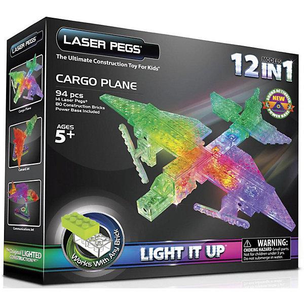 Laser Pegs Светящийся конструктор 12 в 1 Laser Pegs Грузовой самолёт, 94 детали