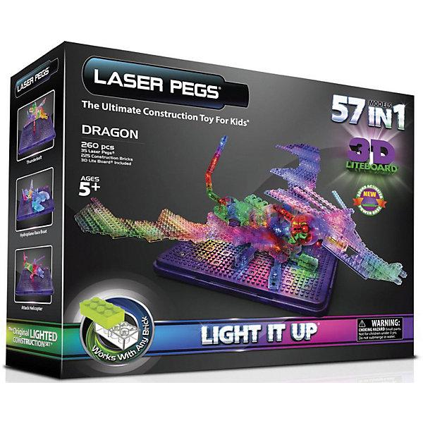 Laser Pegs Светящийся конструктор 57 в 1 Laser Pegs Дракон с 3D панелью, 260 деталей