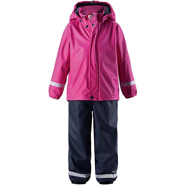 Непромокаемый комплект: куртка и полукомбинезон Joki Reima для девочкиОдежда<br>Характеристики товара:<br><br>• цвет: розовый/синий;<br>• состав: 100% полиэстер, полиуретановое покрытие;<br>• подкладка; 100% полиэстер, флис<br>• сезон: демисезон;<br>• температурный режим: от +5 до +20С;<br>• водонепроницаемость: 10000 мм;<br>• застёжка: молния с защитой подбородка;<br>• запаянные швы, не пропускающие влагу;<br>• эластичный материал;<br>• не содержит ПВХ;<br>• безопасный, съёмный капюшон;<br>• эластичная резинка по краю капюшона;<br>• мягкая и тёплая флисовая подкладка;<br>• эластичные манжеты на рукавах и брючинах;<br>• эластичная талия;<br>• съёмные штрипки;<br>• светоотражающие детали;<br>• страна бренда: Финляндия.<br><br>Классический детский комплект для дождливой погоды надежно защищает от дождя и слякоти. Запаянные водонепроницаемые швы гарантируют, что ни одна капелька не просочится вовнутрь. Съемный капюшон защищает от пронизывающего ветра и безопасен во время игр на свежем воздухе даже во время дождя. Кнопки легко отстегиваются, если капюшон случайно за что-нибудь зацепится. Благодаря множеству светоотражающих деталей маленьких любителей приключений будет хорошо видно даже в темное время суток. Этот комплект изготовлен из материала, не содержащего ПВХ и сертифицированного по стандарту Oeko-Tex.<br><br>Комплект Reima от финского бренда Reima (Рейма) можно купить в нашем интернет-магазине.