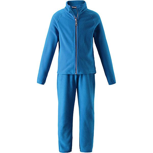 Флисовый комплект LassieФлис и термобелье<br>Характеристики товара:<br><br>• состав: 100% полиэстер, флис 200 гр. м/2 <br>• сезон: демисезон, зима<br>• застёжка: молния с защитой подбородка <br>• выводит влагу в верхние слои одежды <br>• дышащий, тёплый и быстросохнущий флис <br>• эластичный воротник, манжеты на рукавах и брючинах <br>• эластичная талия <br>• брюки на резинке <br>• страна бренда: Финляндия<br><br>Информация о технических характеристиках носит справочный характер и основывается на последних доступных сведениях от производителя. <br><br>Очень удобный, гладкий флисовый комплект на прохладный день. Можно использовать как верхнюю одежду в сухую погоду весной и осенью или поддевать в качестве промежуточного слоя в холода. Высококачественный флис – это прочный, водоотталкивающий, ветронепроницаемый и дышащий материал. И, конечно же, теплый и легкий – идеальный вариант для активных прогулок. Комплект отлично сидит по фигуре благодаря эластичной регулируемой талии и регулируемым концам брючин в брюках и эластичному подолу и манжетам в куртке. Молния во всю длину и гладкая подкладка из полиэстера облегчают процесс одевания.