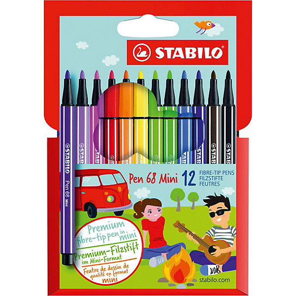 STABILO Фломастеры Stabilo Pen mini, 12 цветов фломастеры crayola 12 цветов 58 8329