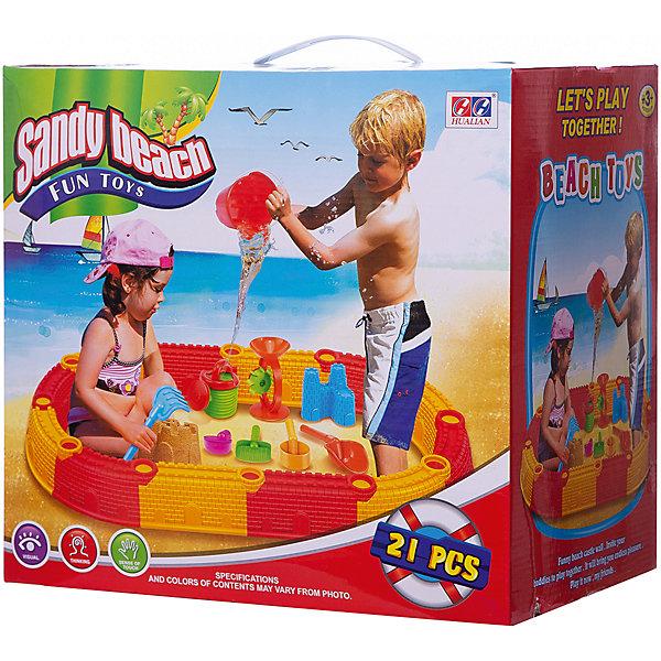 песочный набор grand toys gt8264 ведро совок грабельки ситечко формочка маша формочка медведь Hualian Набор для воды и песка Hualian Замок