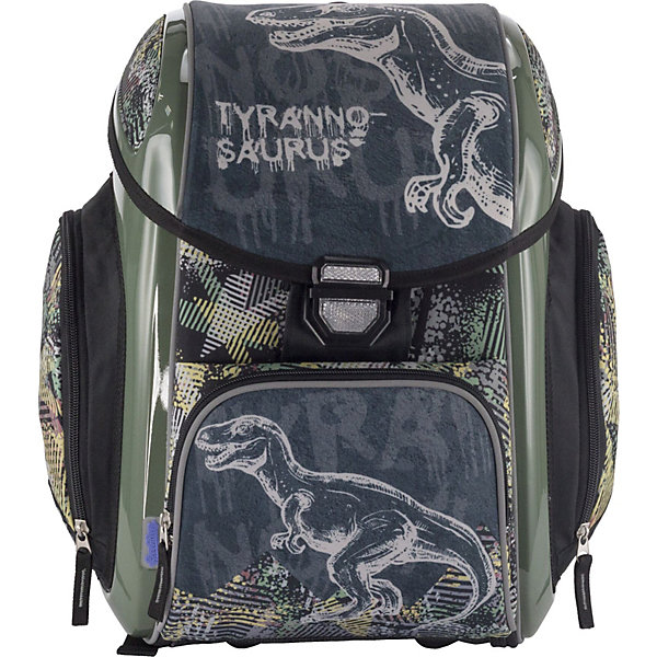 Ранец-трансформер Seventeen Тиранозавр + наушники, без наполненияРюкзаки<br>Характеристики:<br><br>• возраст от: 6 лет;<br>• цвет: серый/зеленый;<br>• материал: полиэстер;<br>• размер рюкзака: 38х30х19 см.;<br>• объем рюкзака: средний ( 20-30 л.);<br>• вес рюкзака: 1,1 кг.;<br>• тип рюкзака: школьный;<br>• спинка: эргономичная, воздухопроницаемая;<br>• наличие поясного ремня;<br>• тип застёжки: клапан;<br>• количество отделений: 1 отделение;<br>• 1 разделителя для книг и тетрадей, 1 карман для канц.принадлежностей;<br>• количество внешнних карманов : 3;<br>• мягкая ручка в верхней части;<br>• прочное и устойчивое дно;<br>• износостойкая обивка;<br>• регулируемые анатомические лямки;<br>• стильный дизайн;<br>• светоотражающие элементы;<br>• бренд: Seventeen .<br><br>Рюкзак-трансформер от Seventeen для мальчика - это красивый и удобный ранец, который подойдет всем, кто хочет разнообразить свои школьные будни. Многофункциональный ранец станет незаменимым спутником вашего ребенка в походах за знаниями. Рюкзак имеет яркий рисунок и изготовлен из современных материалов.<br><br>Рюкзак-трансформер профилактический с эргономической спинкой. Одно основное отделение, закрывается крышкой-клапаном на замке, внутри - разделитель для книг и тетрадей и карман для канцелярских принадлежностей. На передней панели имеется карман на молнии и два дополнительных кармана по бокам рюкзака. Боковые панели укреплены ударопрочным и термостойким АБС-пластиком. Лямки анатомической S-образной формы свободно регулируются по длине и оснащены поясным ремнем на карабине.Молнии рюкзака прочные, металлические. Мягкая ручка в верхней части позволяет сделать ношение в руке более удобным и комфортным. Дно портфеля изготовлено из качественного и прочного материала. Наличие светоотражающих элементов позволяет сделать вашего ребенка более заметным, а так же обезопасить его в темное время суток.