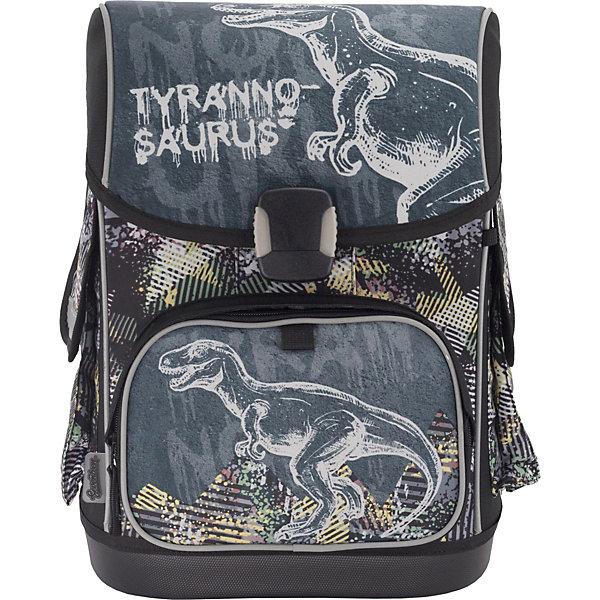 Купить Ранец Seventeen Тиранозавр + наушники, без наполнения, Китай, серый, Унисекс
