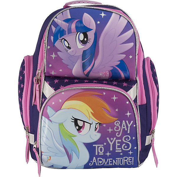 Рюкзак школьный Академия групп My Little PonyРанцы<br>Характеристики:<br><br>• возраст от: 6 лет;<br>• цвет: фиолетовый;<br>• материал: полиэстер;<br>• размер рюкзака: 35х28х17,5 см.;<br>• объем рюкзака: средний ( 20-30 л.);<br>• вес рюкзака: 750 гр.;<br>• тип рюкзака: школьный;<br>• спинка: эргономичная, воздухопроницаемая;<br>• тип застёжки: vjkybz;<br>• количество отделений: 1 отделение;<br>• 2 разделителя;<br>• количество внешнних карманов : 2;<br>• мягкая ручка в верхней части;<br>• прочное и устойчивое дно;<br>• износостойкая обивка;<br>• регулируемые анатомические лямки;<br>• стильный дизайн;<br>• светоотражающие элементы;<br>• бренд: Макпейпер.<br><br>Ранец профилактический My Little Pony  от Макпейпер для девочек - это красивый и удобный ранец, рекомендованый Научным центром здоровья детей РАМН. Многофункциональный ранец станет незаменимым спутником вашего ребенка в походах за знаниями. Рюкзак имеет яркий рисунок и изготовлен из современных материалов.<br><br>Легкий ранец с эргономической спинкой имеет с одно отделение с двумя фронтальными карманами на молнии и двумя боковыми карманами; внутри отделения - откидное внутреннее дно. Эргономическая спинка выполнена в виде накладок анатомической формы из нескольких слоев вспененных синтетических материалов, обтянутых воздухообменной сеткой. Лямки анатомической S-образной формы свободно регулируются по длине и оснащены поясным ремнем на карабине. Молнии рюкзака прочные, металлические. Мягкая ручка в верхней части позволяет сделать ношение в руке более удобным и комфортным. Дно портфеля изготовлено из качественного и прочного материала. Наличие светоотражающих элементов позволяет сделать вашего ребенка более заметным, а так же обезопасить его в темное время суток.