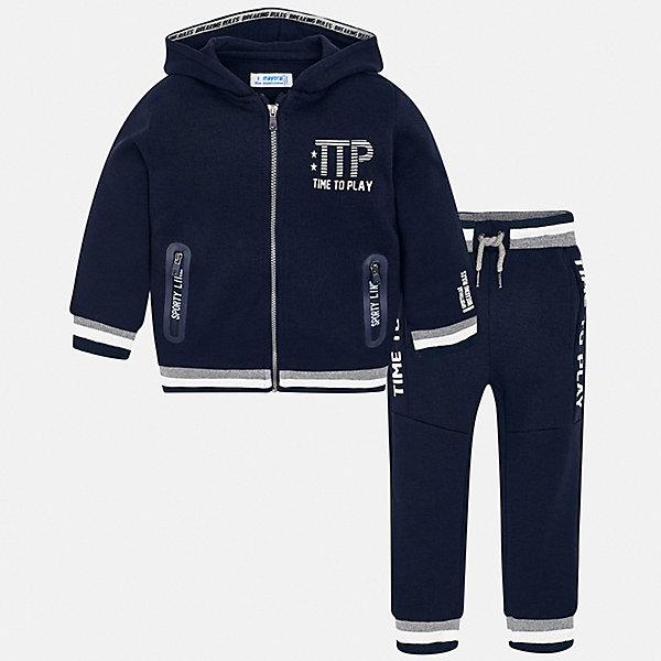 Спортивный костюм MayoralСпортивная одежда<br>Характеристики товара:<br><br><br><br>• комплектация: толстовка, брюки;<br>• состав ткани: 60% хлопок, 40% полиэстер;<br>• сезон: демисезон;<br>• особенности модели: спортивный стиль, с капюшоном;<br>• застежка: молния;<br>• длинные рукава;<br>• талия: резинка, шнурок;<br>• страна бренда: Испания.<br><br><br>Яркие цвета помогут заниматься спортом с удовольствием! Модная толстовка и брюки свободного силуэта - это удобный спортивный костюм для детей от испанской марки Mayoral. Брюки для ребенка - с мягкой резинкой и шнурком в талии, украшены небольшим принтом. Детская толстовка снабжена капюшоном, карманами и молнией по всей длине. Детская одежда от популярной марки Mayoral разработана с учетом последних тенденций в молодежной европейской моде, она сделана из качественного материала и фурнитуры.