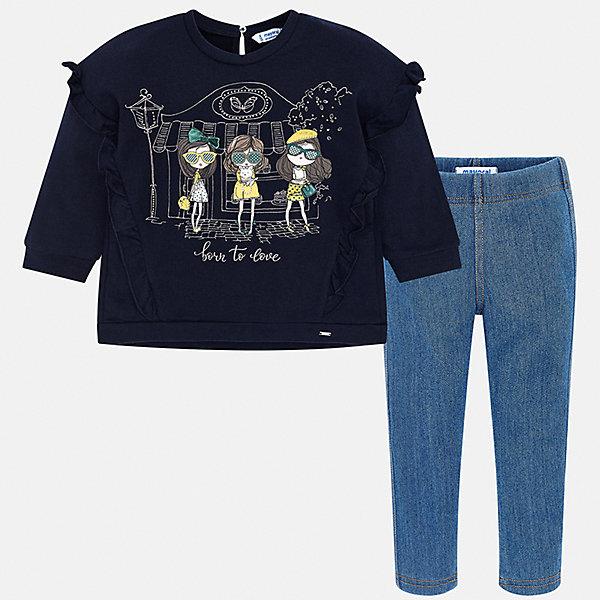 Купить Комплект: футболка с длинным рукавом и леггинсы Mayoral для девочки, Испания, синий, 134, 98, 92, 104, 110, 128, 116, 122, Женский