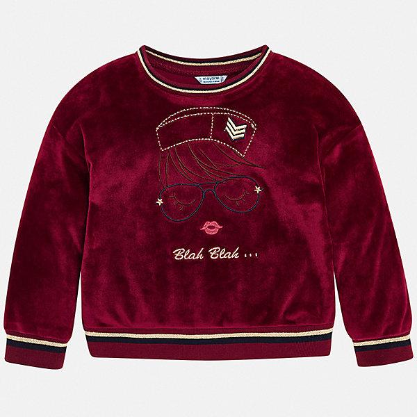 Толстовка Mayoral для девочкиСвитеры и кардиганы<br>Характеристики товара:<br><br>• состав ткани: 94% полиэстер, 6% эластан;<br>• сезон: демисезон;<br>• длинные рукава;<br>• страна бренда: Испания.<br><br>Детская одежда от испанского бренда Mayoral завоевала популярность во многих странах благодаря отличному качеству вещей, а также их стильному и оригинальному дизайну. Такая толстовка для детей от Mayoral сочетает в себе одновременно стильный дизайн и удобство. Детская толстовка - свободного силуэта, отлично сидит на разных типах фигур. Эффектная толстовка для ребенка декорирована оригинальной вышивкой, комфортная посадка обеспечивается манжетами на рукавах и резинкой по низу изделия.