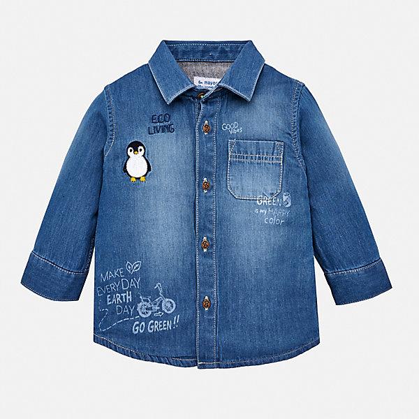 Купить Джинсовая рубашка Mayoral, Бангладеш, голубой, 98, 86, 80, 92, 74, Мужской