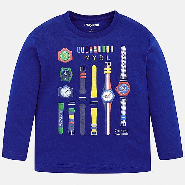 Купить Футболка с длинным рукавом Mayoral для мальчика, Индия, синий, 128, 116, 122, 98, 134, 104, 92, 110, Мужской