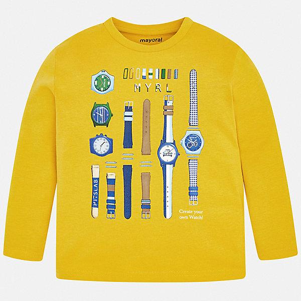 Купить Футболка с длинным рукавом Mayoral для мальчика, Испания, желтый, 110, 122, 116, 128, 98, 104, 92, 134, Мужской