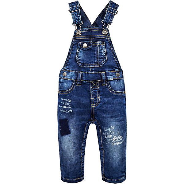 Полукомбинезон MayoralДжинсовая одежда<br>Характеристики товара:<br><br>• состав ткани: 83% хлопок, 15% полиэстер, 2% эластан;<br>• подкладка: 100% хлопок;<br>• сезон: демисезон;<br>• застежка: кнопки;<br>• шлевки;<br>• лямки: регулируются;<br>• страна бренда: Испания.<br><br>Джинсовый детский полукомбинезон от испанского бренда Mayoral сделан из смесовой ткани - хлопок обеспечивает доступ воздуха и мягкость, а синтетические нити - износостойкость. Такой комбинезон для детей легко надевается благодаря стильному принту и эффекту потертостей. Комбинезон для ребенка оригинально смотрится благодаря декору из страз. Этот детский комбинезон, как и другие модели одежды от известного бренда Mayoral, отличается высоким качеством швов и ткани, а также стильным дизайном.