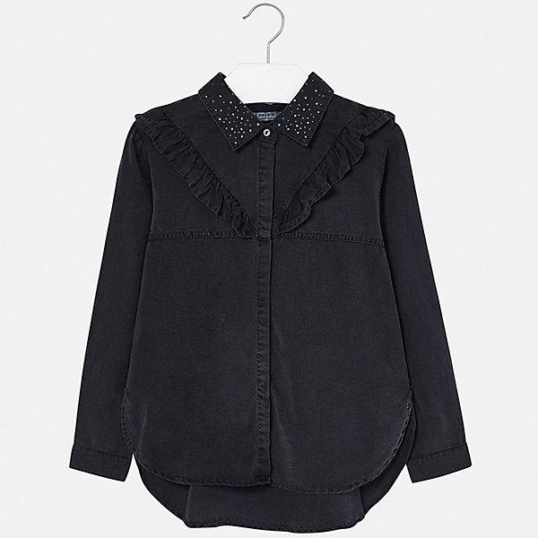 Mayoral Блузка Mayoral для девочки bonpoint джинсовая блузка с рюшами на воротнике