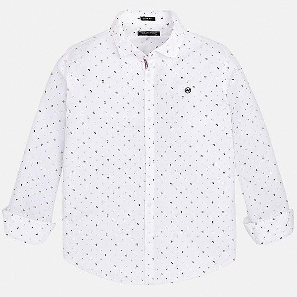 Рубашка MayoralОдежда<br>Характеристики товара:<br><br>• состав ткани: 100% хлопок;<br>• сезон: круглый год;<br>• застежка: пуговицы;<br>• длинные рукава;<br>• страна бренда: Испания.<br><br>Практичная детская рубашка классического кроя смотрится очень стильно благодаря ткани с оригинальной фактурой и небольшому логотипу на груди. Эта рубашка для детей сделана из легкого хлопкового материала, который обеспечит ребенку комфорт. Рубашка для ребенка легко надевается благодаря наличию пуговиц. Детская одежда от популярной марки Mayoral разработана с учетом последних тенденций в молодежной европейской моде, она сделана из качественного материала и фурнитуры.