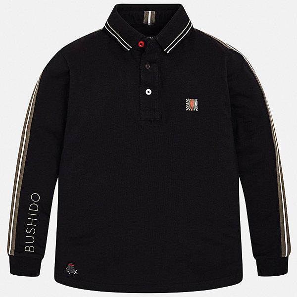 Футболка с длинным рукавом Mayoral для мальчикаФутболки с длинным рукавом<br>Характеристики товара:<br><br>• цвет: черный;<br>• состав ткани: 100% хлопок;<br>• сезон: демисезон;<br>• длинные рукава;<br>• застежка: пуговицы;<br>• страна бренда: Испания.<br><br>Эта рубашка-поло для ребенка совмещает в себе классический силуэт и демократичный декор в спортивном стиле. Модная рубашка-поло для детей легко одевается благодаря удобным застежкам на вороте. Эта детская рубашка-поло с длинным рукавом сделана из дышащего и гипоаллергенного хлопкового материала, простого в уходе, хорошо переносящего стирки. Детская одежда от испанского бренда Mayoral завоевала популярность во многих странах благодаря отличному качеству вещей, а также их стильному и оригинальному дизайну.